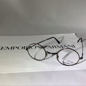 Emporio Armani Retro Brown Round Eyeglasses